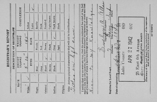 US World War II draft card back